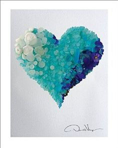 LOVE - Rare Cobalt Blues & Aqua Ombré Sea Glass Heart - Fine Art 11x14 Lithograph Poster Print. #24 from The Heart Collection - A Unique and Great Gift for Anniversary, Birthday, Valentines Day, Mothers Day, Fathers Day, Wedding, Kids & Best Christmas