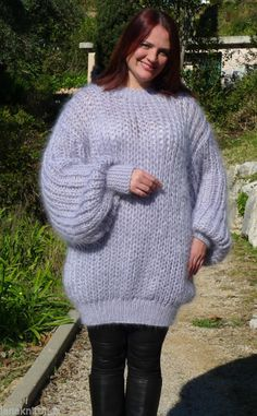 Hand Knitted Longhair Mohair Sweater  Pullover  2XL 3XL  by LanaKnittings