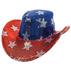 Be the life of the party with this a sequin cowboy hat. This Patriotic  sequin cowboy hat features a blue crown and red brim embellished with  silver stars. fb09dae7e5eb