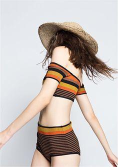 70s inspired sun shade & black striped two piece | high-waist shorts, off-shoulder crop top swimwear