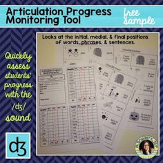FREE sample of Natalie Snyders' articulation progress monitoring tools.  SLPs, quickly monitor your students' progress with the /dg/ sound!