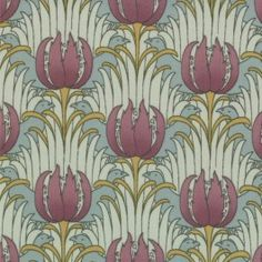 MODA Cotton Quilting Craft Fabric - Reproduction 1890 1910 Bird Tulip Aqua CF Voysey - Morris Modernized by Barbara Brackman 8264 11