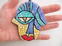 Hamsa Gift EggShell Mosaic Judaica Art Object Multi Color Home
