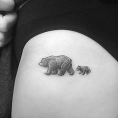 cute little micro bear and cub tattoo by alexandyr valentine