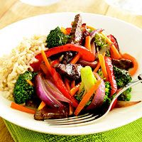 Pungent five-spice powder packs a big flavor punch in this beef and broccoli stir-fry. Purchase pre-cut broccoli and carrot to keep this tasty dish to a 30-minute recipe.