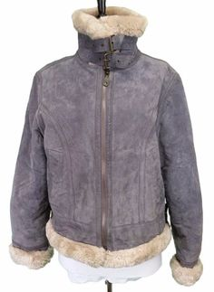 Casual Woman Leather Bomber Coat size 42  Fur Grey winter Jacket  M / L #CasualWoman #Bomber #Outdoor