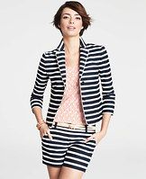 Riviera Stripe Jacket - Destined to be a summer favorite, our stunning Riviera-inspired jacket sports splashy stripes and a softly structured silhouette for a dash of resort-ready style. Rounded notched lapel. 3/4 sleeves with slits. Two-button front. Front besom pockets. Back vent. Piped trim. Lined. 20 3/4 long.