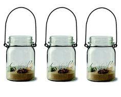 7-piece Mason Jar & Sand Tealight Candleholder Set