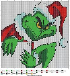 THE GRINCH CREATED BY STITCHBOARD.COM'S FREE PATTERN WIZARD - WALL HANGING, CROSS STITCH OR PERLER BEAD PATTERN