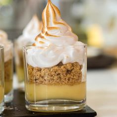 Remember #lemon meringue #pie #dessert? Well how about one in the deconstructed form? Perfect for serving to a dinner party in single servings. Your guests will be impressed.