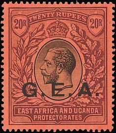 """Tanganyika British Occupation of German East Africa 1917-21 MCA Issue overprinted """"g.e.a."""" Issued Stamps 1r. (both), 2r., 3r., 4r., 5r., 10r. (both) and 20r., fine mint. S.G. 55-61, £723. Photo for 20r."""