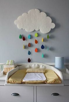 Cute cloud with colorful raindrops.