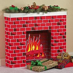 cardboard box fireplace christmas