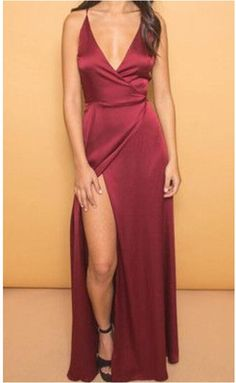 Deep V Neck Slit Prom Dresses ,Sexy Spaghettis Evening Gowns,Silk Satin Prom Dress,Wine Red Prom Dress,Formal dress