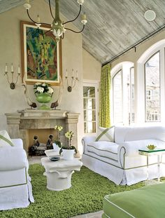 I love the green and white in this space!