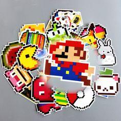 25pcs Cartoon Pixel Style Sticker Home Decor Toys Television Decal Laptop Motorcycle Car Skateboard Doodle DIY Mario Sticker  #Affiliate
