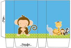 Para personalizar, imprimir y disfrutar de un cumple o baby shower temático!   Para descargarlo completo ingresá el siguiente enlace:   Kit... Printable Box, Free Printable Invitations, Free Printables, Safari Party, Jungle Safari, Five Little Monkeys, Expecting Baby, Baby Party, Cute Animals