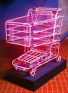 Name of work: Hot Rod Artist: Linda Dolack Dimensions: x x Medium: steel shopping cart, neon pink light The work adds a futuristic look to a seemingly ordinary object. The lights highlight the frame of the cart. Vaporwave, Kunst Party, Filigranes Design, House Design, Instalation Art, Displays, Neon Aesthetic, Cyberpunk Aesthetic, Peach Aesthetic