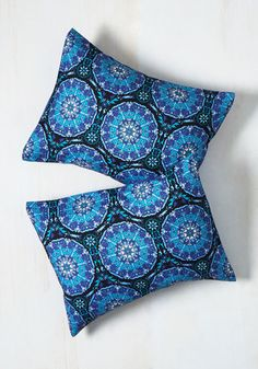 Nothing quite beats a refreshing night's sleep. So, get your beauty rest in the best way possible - snuggled up with these medallion-printed pillow shams! This navy, sky, and cerulean pair - exclusive to ModCloth - assures that you'll awake feeling stylishly refreshed.