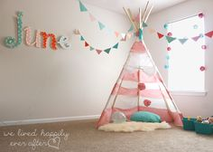 $55 Little Girl Playroom Reveal. Great DIY projects. But nix the tacks on the teepee project for sure. Too dangerous for a toddler.