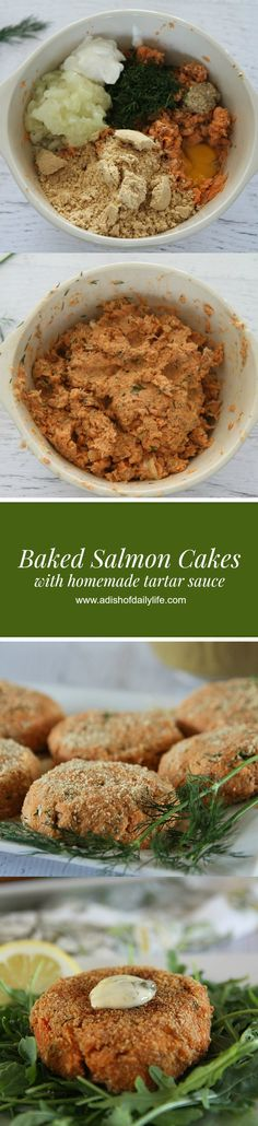 Baked Salmon Cakes with homemade tartar sauce...a delicious, easy, healthy, and gluten free lunch or dinner option!