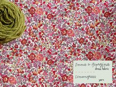Liberty fabric in peach, rose, coral, dusky lavender & olive yarn (Posy gets Cozy blog)