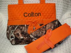 PERSONALIZED 3 Piece Diaper Bag Set with Name - Baby Boy Camo and Orange Personalized Diaper Bag, Zipper Pouch, and Changing Pad Embroidered on Etsy, $37.99