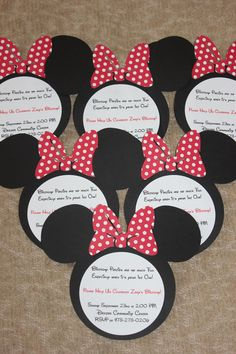 Mickey or minnie mouse birthday invitations hand crafted of heavy set of 10 minnie mouse or mickey mouse invitations customizable hand made pink solutioingenieria Images