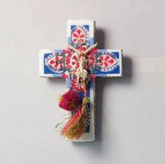 Suzani Cross   Ahoy Trader Crosses Decor, Wall Crosses, Paris Crafts, Cross Wall Art, Clay Cross, Plaster Paint, Diy Tableware, Knick Knack, Religious Cross