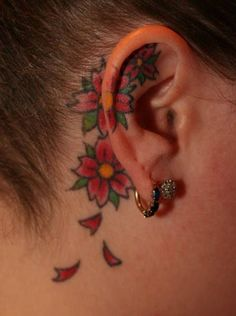 Flower behind ear tattoo - 55 Incredible Ear Tattoos  <3 !