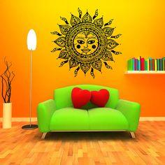 Wall Decal Vinyl Sticker Decals Art Home Decor Design Mural Sun Moon Crescent Dual Ethnic Stars Night Symbol Sunshine Fashion Bedroom