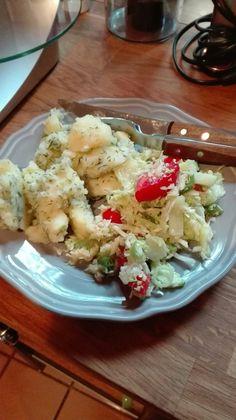 amidon-cartofi fierti cu marar si o lingura de smantana(intra la grasimi permise ) si salata de varza cu rosii Potato Salad, Healthy Recipes, Healthy Food, Recipies, Low Carb, Potatoes, Vegetarian, Ethnic Recipes, Salads