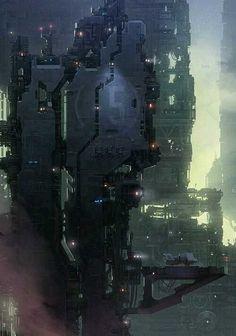 Cyberpunk Art, cosmicwolfstorm: Tagonis Refinery Depths by Christopher. Cyberpunk City, Cyberpunk Kunst, Futuristic City, Futuristic Architecture, Concept Architecture, Landscape Architecture, Concept Art Landscape, Fantasy Landscape, Environment Concept Art