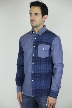 J Press York Street Mather Button Down in Chambray/Madras