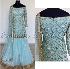 Gorgeous Jasmine blue sharara by Poonams Kaurture.Costumised similar dress for order HOUSE OF ZUHAF Indian Party Wear, Indian Wedding Outfits, Indian Outfits, Lehnga Dress, Sharara Suit, Punjabi Salwar Suits, Patiala, Pakistani Dresses, Indian Dresses