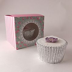 Cupcake boxes for 1 cupcake - Frills and Spills - pack of 5