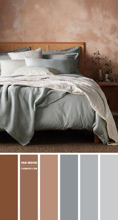 Earth tone bedroom { Brown and Grey with blue undertone } - - If you want your bedroom to be cozy and comfortable as well as decorative consider using earth tones in your room. The neutral colors. Earthy Bedroom, Warm Bedroom, Blue Bedroom, Modern Bedroom, Bedroom Brown, Blue Brown Bedrooms, Green Bedroom Colors, Bedroom Colour Palette, Bedroom Color Schemes