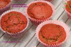 Eggless healthy beetroot muffins