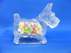 VINTAGE GLASS TOY DOG SCOTTY CANDY CONTAINER CIRCA 1946