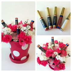 Treat mom to this cute LipSense bouquet! With about 15 bucks of supplies from the craft store & a LipSense collection, it makes an impressive gift!    -1 small flower pot  -1 small round florist foam  -selection of faux flowers with stems  -LipSense Collection (the one shown here has 1 LipSense collection plus two extra lip shades)    Place the florist foam snugly in the pot. Push the LipSense tubes, cap first, firmly into the foam, & fill the empty areas with the faux flowers. Mom will love…