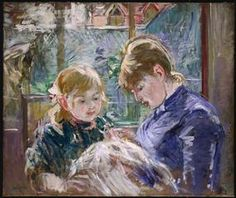 "The Artist's Daughter Julie  with her Nanny by Berthe Morisot  23""x28"", 1884, oil on canvas  Minneapolis Institute of Art"