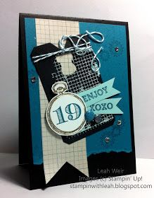 """Stampin' With Leah: Stamp Sets: Clockworks, Memorable Moments, Oh Goodie and Off the Grid. DSP Soho Subway. Colours used Basic Black, Island Indigo, Pool Party. Other products are Chalk Talk framelits, 1 1/4"""" circle punch, Gold embossing powder (watch), Pool Party embossing powder (grid), bakers twine, rhinestone and smooch spritz."""