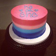 Gender reveal cake - ombré buttercream Cami's Cake Co. - Eudora, KS www.facebook.com/camiscakeco