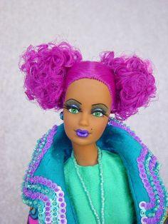 Really fun hair and makeup, ooak barbie