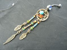 turquoise and amber dreamcatcher belly ring turquoise czech beads in tribal boho hippie belly dancer and hipster style