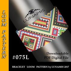 PDF FORMAT / PATTERN ONLY. Create this beautiful cuff bracelet. Bracelet loom patterns / square stitch made with size 11/0 Miyuki Delica beads Width: 3,6 cm / 1.4 (27 columns) Length: 16 cm / 6.3 Colors: 6 Patterns include: - Large colored numbered graph paper (and non-numbered in another files) - Bead legend (numbers and names of Miyuki Delica beads colors ) - Word chart - Pattern preview This pattern is intended for users that have experience with loom and the pa...