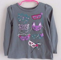 ⏳ENDS TODAY . Extra 5% off with this pin  @salesfortoday FOLLOW Also check out www.stores.ebay.com/jenscreationstx   Toddler Girls Longsleeve Glitter T Shirt- size 3T- Masks Mardis Gras- Gray