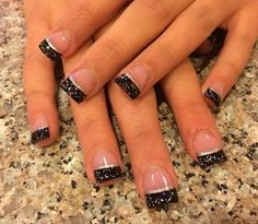 french nails tips Cas Diy Nails, Cute Nails, Pretty Nails, French Tip Nails, French Manicures, Black French Manicure, Black Nail Tips, Sparkle French Manicure, Glitter French Tips