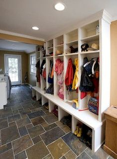 Basement Storage Design Ideas, Pictures, Remodel, and Decor - page 16 Mudroom Decor, Home, Contemporary House Design, Remodel, Mudroom Design, Mudroom Laundry Room, Locker Designs, Mud Room Garage, Room Design