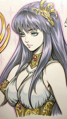 Saori Kido a deusa Athena _ Evandro Marques AMV. Anime Art Girl, Manga Art, Manga Anime, Otaku Anime, Anime Comics, Fantasy Characters, Anime Characters, Art Adventure Time, Art Vampire
